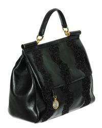 Dolce & Gabbana   Black Lace and Nappa Top Handle   Lyst