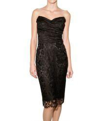 Dolce & Gabbana | Black Lace Bustier Dress | Lyst