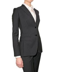 Dolce & Gabbana | Blue Pinstriped Wool Jacket | Lyst