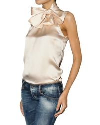 DSquared² | Natural Silk Satin Top | Lyst