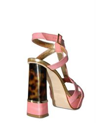DSquared² - Pink 130mm Calf & Tortoise Plexi Heel Sandals - Lyst