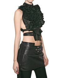Givenchy - Black Pleated Leather Bib Top - Lyst