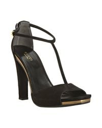 Gucci | Black Suede Daisy T-strap Sandals | Lyst