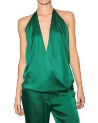 Haider Ackermann | Green Silk Satin Top | Lyst