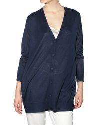 JOSEPH - Blue Knit and Chiffon Cardigan Sweater - Lyst
