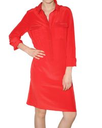 JOSEPH | Red Silk Crepe De Chine Pocketed Shirt Dress | Lyst