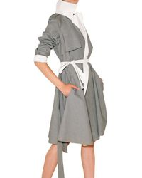 Lanvin - Gray Reversible Cotton Cloth Trench Coat - Lyst