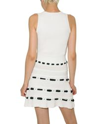RED Valentino - White Cotton and Taffeta Knit Dress - Lyst