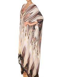 Roberto Cavalli - White Printed Chiffon Kaftan Dress - Lyst