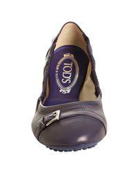 Tod's - Deep Purple Leather Dee Buckle Ballerina Flats - Lyst