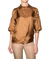 Viktor & Rolf | Brown Silk Twill Shirt | Lyst