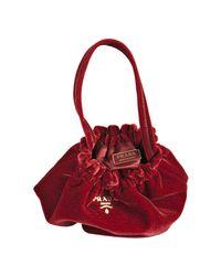 Prada | Red Velvet Logo Mini Satchel | Lyst