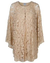 Halston | Natural Beaded Lace Cape Dress | Lyst