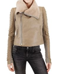 Rick Owens | Natural Shearling Corduroy Biker Leather Jacket | Lyst