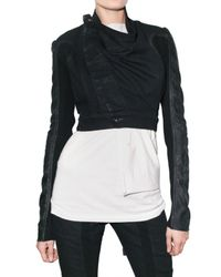 Rick Owens | Black Cropped Denim and Leather Jacket | Lyst