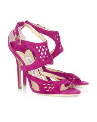 Jimmy Choo - Pink Dexter Suede Sandals - Lyst