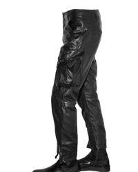 Ann Demeulemeester - Black Multi Pocket Leather Trousers for Men - Lyst