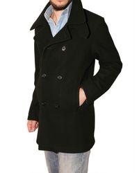 Aquascutum - Black Wool Cloth Pea Coat for Men - Lyst