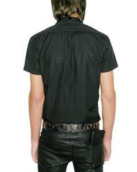 Balmain - Black Metal Badge Poplin Short Sleeved Shirt for Men - Lyst