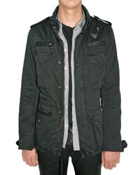 Balmain | Black Military Parka Gabardine Jacket for Men | Lyst