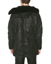 Balmain - Black Waxed Denim Coat for Men - Lyst
