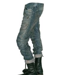 Balmain - Blue Dirty Denim Cropped Biker Jeans for Men - Lyst