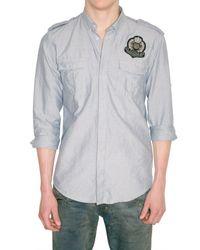 Balmain | Blue Oxford Cotton Military Shirt for Men | Lyst