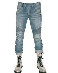 Balmain - Blue Regular Fit Biker Jeans for Men - Lyst
