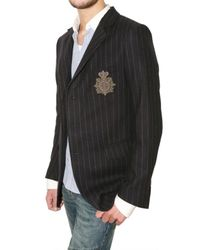 Balmain - Blue Pinstriped Flannel Badge Jacket for Men - Lyst