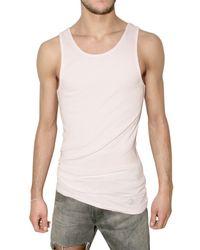 Balmain | White Miniribbed Jersey Tank Top for Men | Lyst
