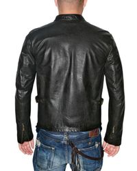 Belstaff - Black Front Stripe Racing Vent Leather Jacket for Men - Lyst