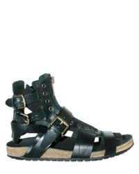 Burberry Prorsum | Black Ankle Straps with Brass Rivets Sandals for Men | Lyst