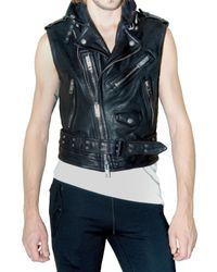 Burberry Prorsum | Black Sleeveless Cropped Biker Leather Jacket for Men | Lyst
