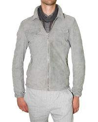 CoSTUME NATIONAL | Gray Light Weight Washed Suede Leather Jacket for Men | Lyst