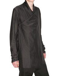 Damir Doma | Black Satin Cotton Wrap Front Shirt for Men | Lyst