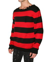 Dead Meat - Red Cobain Distressed Collar Wool Sweater for Men - Lyst