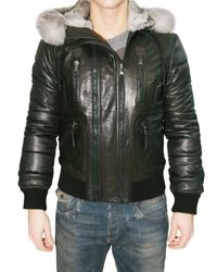 Dolce & Gabbana - Black Fur Hooded Nappa and Nylon Sport Jacket for Men - Lyst