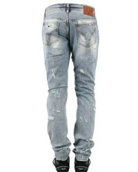 Dolce & Gabbana - Blue Destroyed Paint Jeans for Men - Lyst