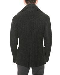 Dolce & Gabbana - Gray Thick Ribbed Pea Sweater Jacket for Men - Lyst