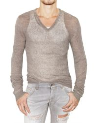 Dolce & Gabbana | Natural Transparent Ribbed Knit Linen Sweater for Men | Lyst