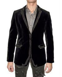 Dolce & Gabbana | Black Distressed Denim Piping Velvet Jacket for Men | Lyst