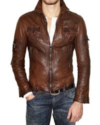 Dolce & Gabbana Brown Washed Nappa Leather Jacket for men