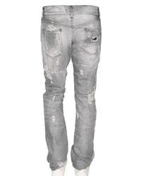 Dolce & Gabbana - Gray 19cm Gold Destroyed Denim Jeans for Men - Lyst