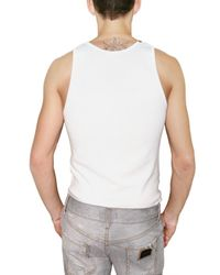 Dolce & Gabbana | White Micro Ribbed Cotton Tank Top for Men | Lyst