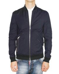 DSquared² | Blue Stretch Cotton Canvas Bomber Jacket for Men | Lyst