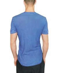 DSquared² | Blue Cotton Linen Serafino T-shirt for Men | Lyst