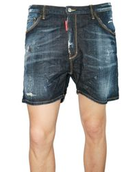 DSquared² | Blue Distressed Stretch Denim Shorts for Men | Lyst