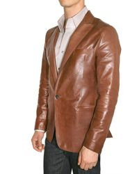 DSquared² - Brown Nappa One Button Leather Jacket for Men - Lyst