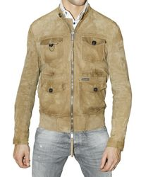 DSquared² | Natural Suede Multi Pocket Bomber Leather Jacket for Men | Lyst