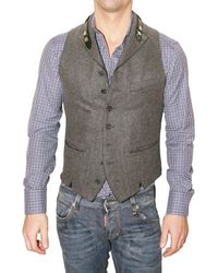 DSquared² | Gray Belted Collar Wool Felt Vest for Men | Lyst